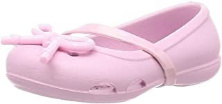 Crocs Unisex-Child Girls Girl's Lina Bow Charm Flat|Easy on Summer Shoe|Perfect for Back to School