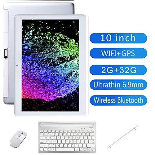 QLPP 10 Pulgadas Android Tablet PC, 3G Wi-Fi, 2 GB de RAM, 32 GB de Almacenamiento, procesador de Cuatro núcleos, Pantalla IPS HD, 3G phablet con GPS Bluetooth del Teclado del ratón, Styluses,A
