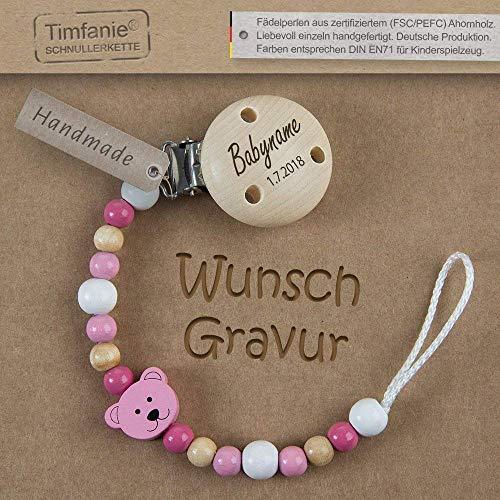 Handmade Schnullerkette mit Namen | für Mädchen | Timfanie® Teddy-berry