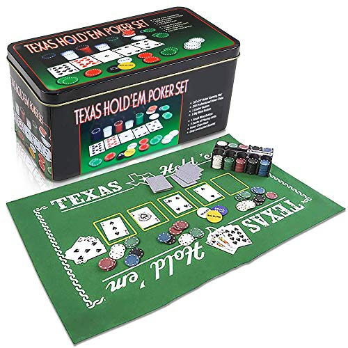 Gamie Texas Holdem Poker Game Set - Includes Hold'em Mat, 2 Card Decks, Chips, Chip Holder and Tin Storage Box - Fun Game Night Supplies - Cool Casino Gift for Kids and Adults