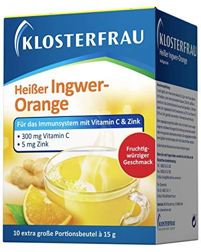 Klosterfrau 10 Beutel Heißer Ingwer Orange Geschmack Tee für das Immunsystem schmeckt fruchtig würzig mit Vitamin C und Zink