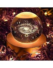 ILFALZT Bola de cristal 3D Space Galaxy con soporte de madera, bola de decoración para el día del padre