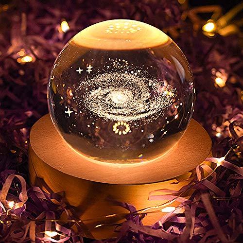 ILFALZT Bola de cristal 3D Space Galaxy con soporte de madera, bola...
