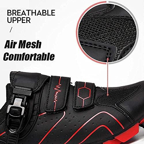 Zapatillas de Ciclismo MTB Para Hombre Zapatillas de Bicicleta de Montaña SPD Zapatillas de Bicicleta de Carretera Zapatillas de Ciclismo Transpirables Para Exteriores Compatibles con Tacos SPD,Red-44