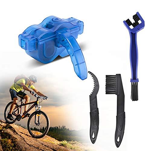 JOLIGAEA Juego de cepillos para cadena de bicicleta, cepillo de cadena de bicicleta, cepillo de limpieza de cadena, herramienta de limpieza rápida para todo tipo de bicicletas, color azul