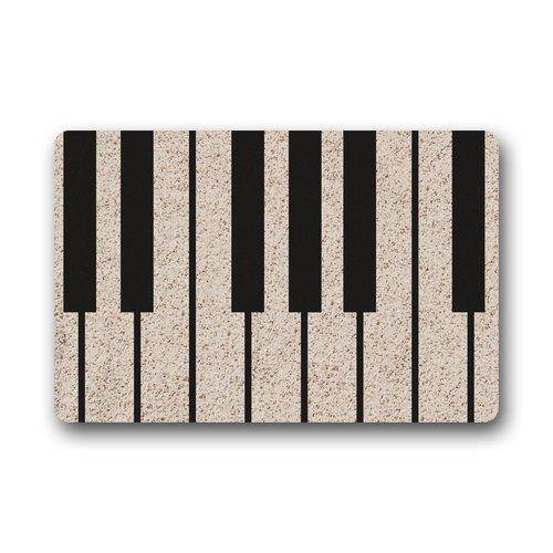 Felpudo decorativo lavable a máquina para puerta de piano con llave de música para interior/exterior (23,6 x 15,7)