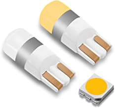 LEADTOPS 194 921 T10 LED Bulbs CANBUS 3000K 12-30V DC Amber/Warm White for Car Interior Door Dome Map Backup Reverse License Plate Courtesy Side Marker Parking Trunk Glove Box Light (2 Piece)
