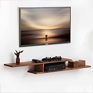 HUOHUI Simple Furniture - Floating Shelf Audio/Video Console Wooden TV Stand Media Console for Cable Box Routers Remotes D...