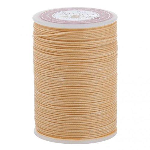 Bonarty - Hilo encerado para costura de piel, 2 unidades, 0,55/0,6 mm, color beige y 0,6 mm