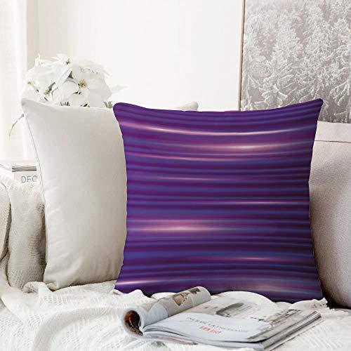 Fangguan decoración Cuadrada, Indigo, Rayas como líneas horizontales Diseño Minimalista Moderno Inspirado en los años 70 80, púrpura ma,Funda de Almohada Almohada para Coche Almohada para sofá casero