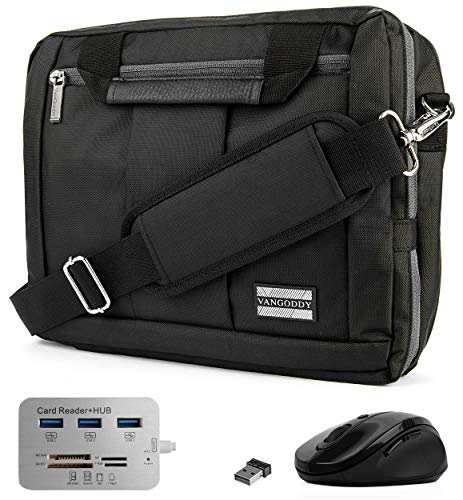 """Black Convertible Laptop Bag with USB Hub, Mouse for Microsoft Surface Pro 7, 6, Pro X 13"""""""