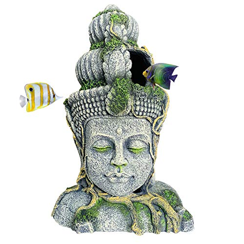 Hamiledyi Buddha Head Statue Aquarium Decorations Resin Fish Hideout Betta Cave for Large Fish Tank Ornaments Betta Sleep Rest Hide Play Breed