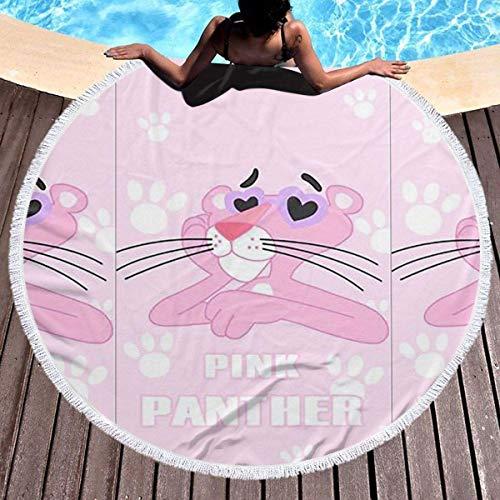 NULLYTG - Toalla de playa redonda, grande, diseño de pantera, color rosa con borlas, muy suave, absorbente, multiusos, 150 cm