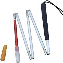 Aluminio Bastón Blanco para Ciegos y Baja Vision Plegable 5 Secciones con 2 Punta