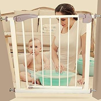 Porte de sécurité intérieure très large pour bébé avec porte pour animal domestique, se fixer à la barrière de protection d'escalier de garde-corps de rampe 65-124CM large en métal (taille: 115-117cm)