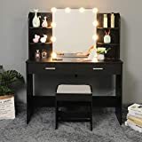 USIKEY Large Vanity Table Set with 10 Light Bulbs, Makeup Table with 6 Storage Shelves 2 Drawers, Dressing Vanity Table wih Cushioned Stool, Dresser Desk for Women, Girls, Bedroom, Black