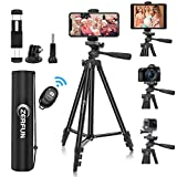 "Phone Tripod, ZERFUN 55"" Tripod for iPhone iPad Camera, Adjustable Travel Phone Tripod Stand with Remote, Universal Cell Phone/Tablet Holder Mount, Sports Camera Adapter and Carrying Bag"