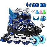Łyżwy inline Dzieci Unisex Regulowany Łyżwy Rolki Ostrza Rolki Z Light Up Wheels Początkujący Walce blue-M