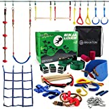 Ninja Warrior Obstacle Course for Kids - Ninja Slackline 50' with 10 Accessories...