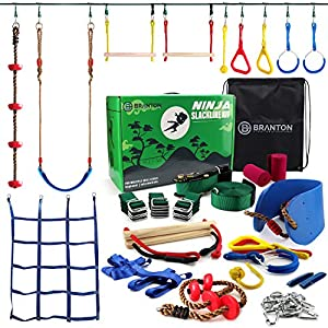Ninja Warrior Obstacle Course for Kids – Ninja Slackline 50′ with 10 Accessories for Kids, Includes Swing, Obstacle Net…