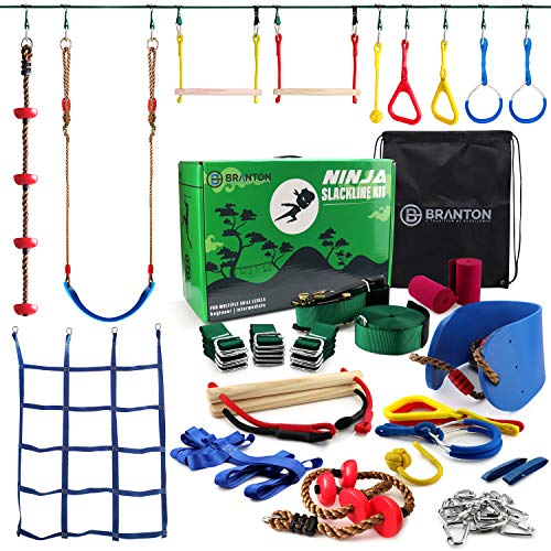 New Ninja Warrior Obstacle Course for Kids - Ninja Slackline 50' with 10 Accessories for Kids, Inclu...