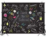 BEIPOTO Back to School Backdrop Blackboard Photography Stationery Cartoon Photo Background School Kids Studio Students Photo Shooting Props 6.5x5ft B-214