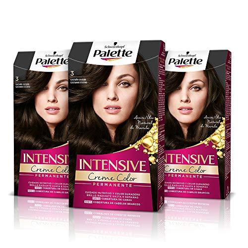 Schwarzkopf Palette Intensive Creme Color – Tono 3 cabello Castaño Oscuro (Pack de 3) - Coloración Permanente de Cuidado con Aceite de Marula, cobertura de canas, Color duradero hasta 8 semanas