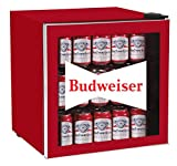 CURTIS MIS168BUD Budweiser 50 Can Beverage Cooler, Glass Door, 1.8 cu ft, Red