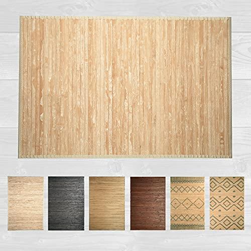 LucaHome – Alfombra bambú Uganda Ideal para Interior o Exterior, Alfombra bambú para Cocina, salón, despacho, Dormitorio con Cenefa, Alfombra de bambú Antideslizante (Wash White, 60x90cm)