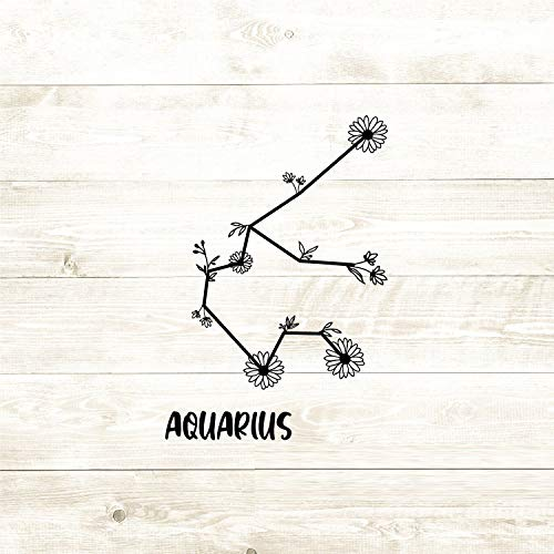 43LenaJon Funny Vinyl Window Decal Sticker Aquarius Zodiac Constellations Abstract Wild Flowers Signs Horoscope Car waterproof sticker