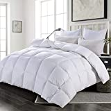 HOMBYS 108x98 California King Size Feather Down Comforter,100% Cotton Duvet Insert Feather and Down Comforter California King, 73 Oz Feather & Down with 8 Corner Tabs ( White, Cal King )