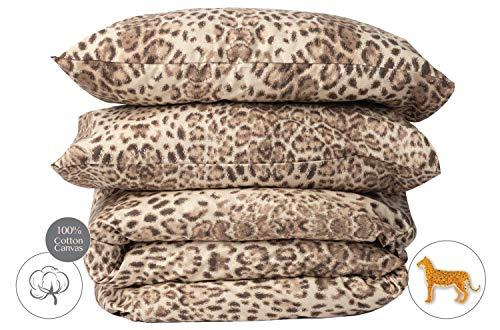savastextile Leopard Juegos De Cama 200x200 - Algodon Organico Juego Cama Algodon 100% - Juego De Cama Grande + 2 Funda Almohada para Cama - Funda De Cama Leopard - Juegos para Dos - Ropa De Cama 200