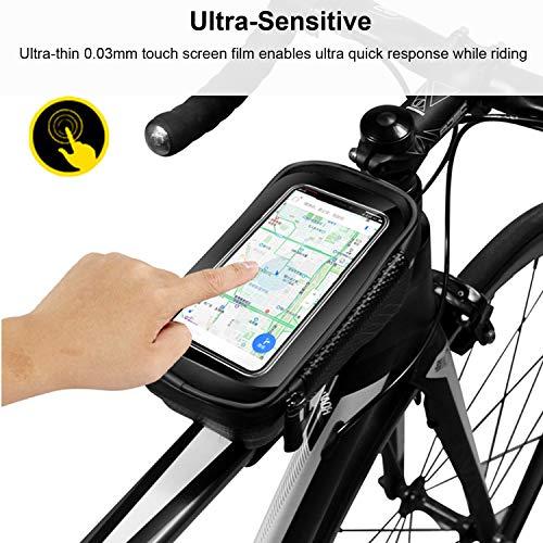 BAONUOR Fahrrad Rahmentasche Fahrrad Handytasche Lenkertasche Wasserdicht mit TPU Touchscreen Fahrradtasche Fahrrad Oberrohrtasche für iPhone 8 Plus/X/XS Max/XR/Samsung S8 Plus/S9 Handy - 2