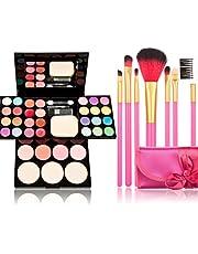 Profesjonalny zestaw pędzli do makijażu, 39 kolorów do makijażu, paleta cieni do powiek, pudru do ust, 7 różowych pędzli do makijażu