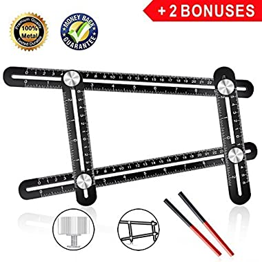 Angle Ruler,Zonghengwd Universal Angularizer Ruler,All Aluminum Template Tool,Multi Angle Measuring Ruler,Easy Ruler,Ultimate 836 Angle Finder Ruler Tool with Two Pencils-Perfect Gifts