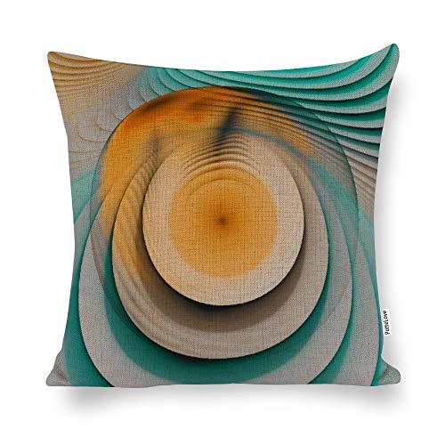 Promini Creamy Beige Teal Aus Eggyolk Spiral Circle Cotton Linen Blend Throw Pillow Covers Case Cushion Pillowcase with Hidden Zipper Closure for Sofa Bench Bed Home Decor 20'x20'