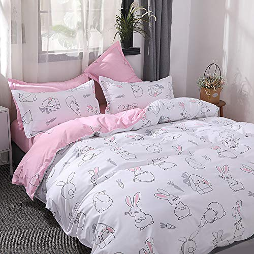 choicehot Rabbit Duvet Cover Sets Printing Animal Pattern Bedding Sets with Pillowcase Sets Woodland Friends Easy Care Quilt Cover Hares Beddings for Kids Single Size