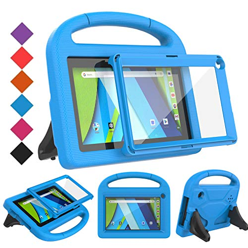 BMOUO Kids Case for RCA Voyager 7 Tablet, RCA Voyager 7 inch Tablet Case with Screen Protector, Shockproof Light Weight Stand Kids Case for RCA Voyager I II III 7 inch Tablet, Blue