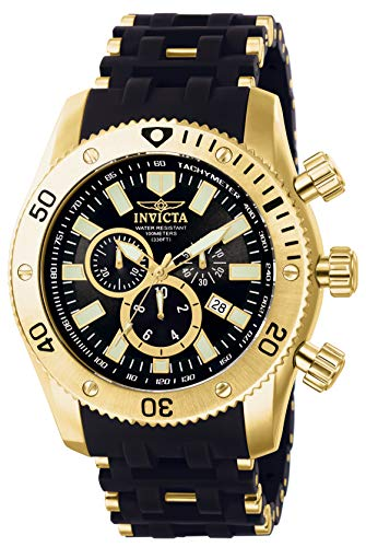 Invicta Men's Sea Spider Gold Tone Stainless Steel and Black Polyurethane Quartz...