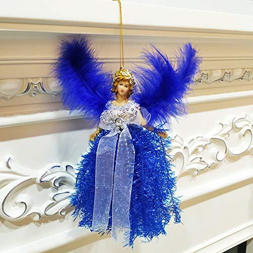Qianren Weihnachtsengel Puppen Anhänger Mit Federflügeln Weihnachtsbaum Kamin Dekorative Hängende Figur Ornamente Hauptdekorationen