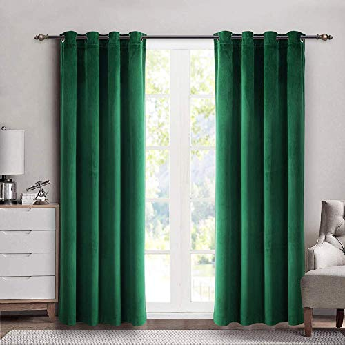 SINGINGLORY Green Velvet Curtains 52 x 84 Inch, Blackout Thermal Insulated Grommet Window Curtain 2 Panels Set for Bedroom and Living Room (W52 xL84, Dark Green)