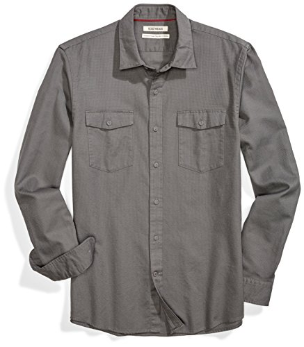 Amazon Brand - Goodthreads Men's Standard-Fit Long-Sleeve Ripstop Dobby Shirt, grey, Large