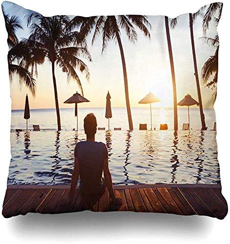 Doble Cojines Fundas 18' Resort Relax Relajación en la Playa Joven disfrutando de Parques Recreación Hotel Deportivo de Lujo Estilo de Vida Funda de Almohada Suave para la Piel