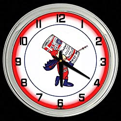 ELG Companies LLC 16 Budweiser Bud Man Beer Sign Red Neon Wall Clock