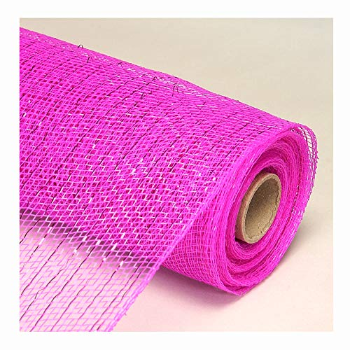 Decorative Poly Mesh Roll with Matching Metallic Stripes - 21' Wide X 10 Yards, Fuchsia
