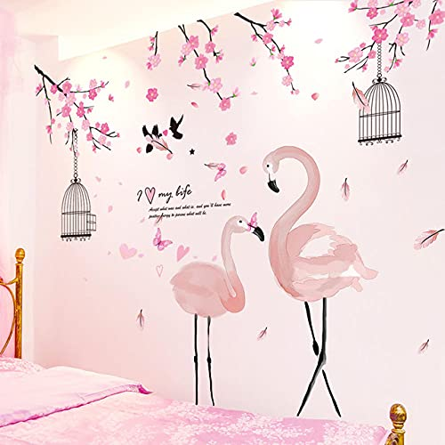 Pegatinas de pared de animales rosas DIY pájaros calcomanías murales de animales para casa habitaciones de niños decoración de dormitorio de bebé
