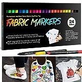 APOGO Lot de 24 feutres de coloriage pour textile - Marqueurs en feutre - Marqueurs indélébiles et...