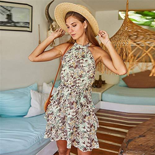 DXXHR Mode Rüschen Halfter Blumenkleid Frauen Schlankes ärmelloses Lagenkleid Neues kurzes Sommerkleid mit Chiffon-Print Office Lady