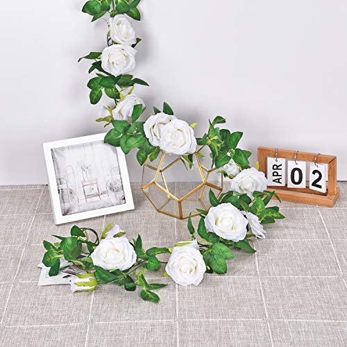 4PCS Artificial Rose Vine, 6.5 FT Artificial Flower Hanging Rose Ivy, Silk Fake Rose Flowers Green Vine Garland Artificial White Rose Garland for Wedding Party Garden Arch Home Decor
