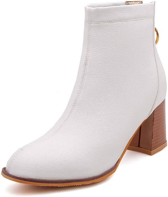 GHFJDO Frauen Stiefel Winter Warm Ankle Stiefel Original Leder Zip Chelsea Stiefel Damen Low Block Heel schwarz Größe 32-43